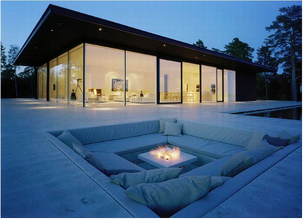 beautiful outdoor couch area canle light