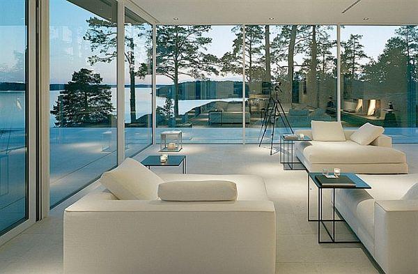 classy living room white furniture