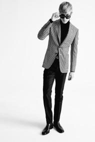 Tom Ford A/W 2015 BLACK AND WHITE GRAPHIC GINGHAM UNLINED NOTCH LAPEL PATCH POCKET CARDIGAN JACKET