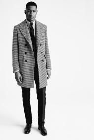 Tom Ford A/W 2015 BLACK AND WHITE HOUNDSTOOTH DOUBLE BREASTED TAILORED COAT